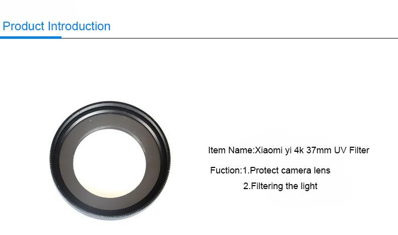 KingMa Xiaomi Yi II 4K Lens Cover Lens Cap+37mm UV Filter Lens For Xiaomi Yi 2 4K Action Sports Camera YI II 4k Accessories