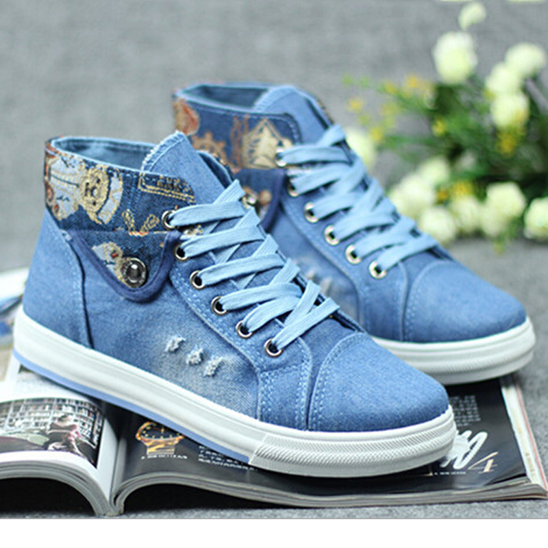 Women Canvas Shoes 2016 Spring New Zapatillas High-top Printed Fashion Denim Shoes Flat Casual shoes Woman Zapatos Mujer 04
