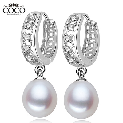 Natural Pearl Hoops Earrings Genuine Sterling Silver 925 Cubic Zirconia Bridal Earring Freshwater Teardrop Pearls Jewelry s Gift(China (Mainland))