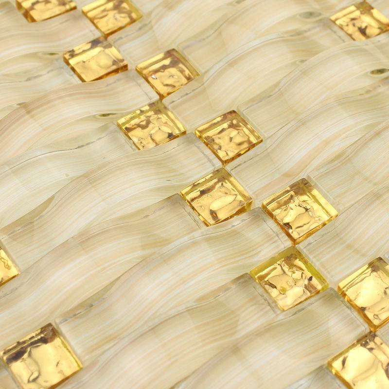 Weave glass mosaic tile backsplash arched hand painted for Golden select flooring dealers