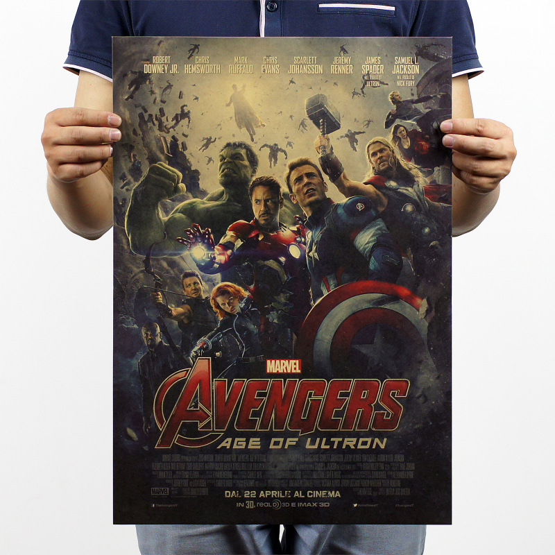The avengers alliance 2 science fiction film new fashionable adornment decorates a wall stick kraft paper posters bar 51 x35. 5(China (Mainland))