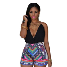 2016 Summer Style Folk Print Romper Tribal Aztec Sleeveless Halter Playsuit Jumpsuits Plus Size Jumpsuits and Rompers For Women