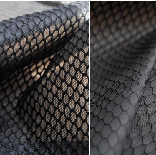 100cm*150cm Sandwich fashion fabrics high toughness air layer fabric large hexagonal honeycomb black designer garment fabric(China (Mainland))