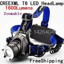 Waterproof 1600 Lumen CREE XML T6 LED Headlamp Flashlight Zoomable Camping Hunting Headlight Lamp Lantern Free Shipping(China (Mainland))