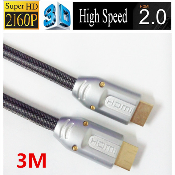 Free shipping 24k Gold plated 3m hdmi 2.0 cable 4k 3d black color with ethernet Full 1080p 2160p for ps3 LCD DVD HDTV(China (Mainland))
