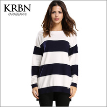 women sweater and pullovers 2015 casual plus size women clothing winter long sleeve O-neck strip elegant women sweater M-078(China (Mainland))