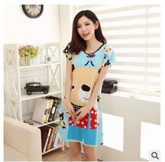 Qianxiu Brand Pajama Casual Cotton Stripes Home Dress Knee-Length Nightgown&Sleepshirts(China (Mainland))