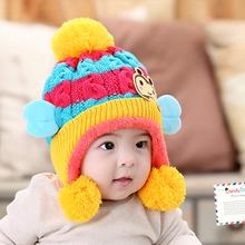 Children Winter Hats For Kids Aviator Hat Cute Warm Cap Baby Earflaps Velvet Thickening Crochet Knitted Boy Girl Beanies