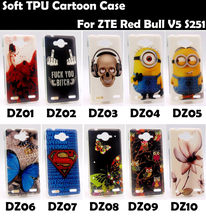 Soft TPU Silicone Cover Case ZTE Red Bull V5 S251 Skull Rose Owl Minions Despicable Tower Superman Flower Butterfly - Supper Cartoon Store store