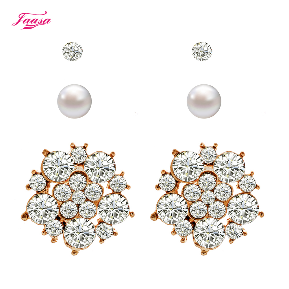 Women's Earrings New Design Punk Style 3 different types of stud earrings set(China (Mainland))