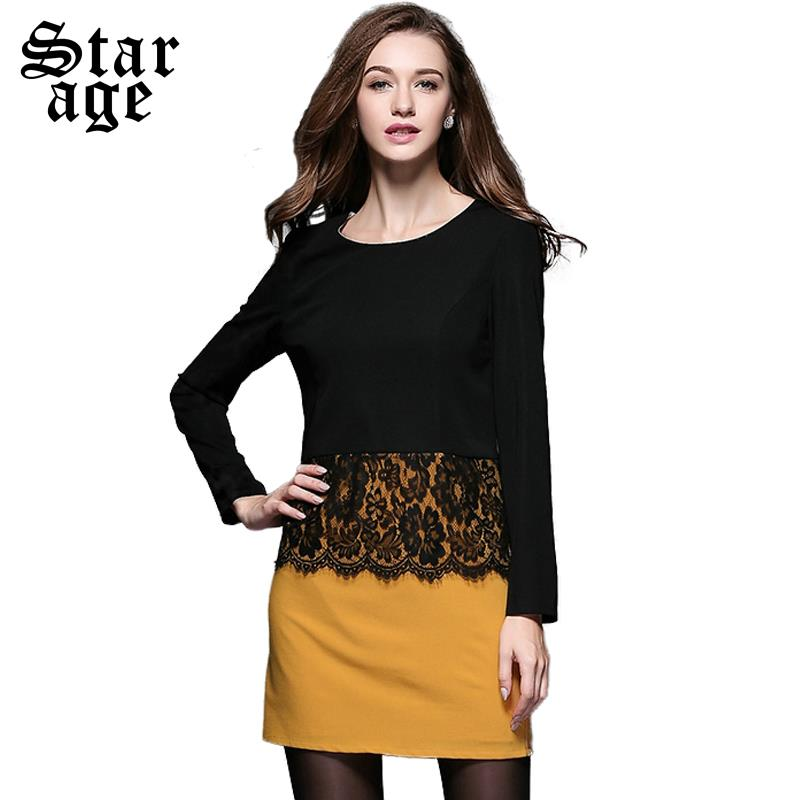 XL-4XL Office Ladies Sexy Floral Lace Long Sleeve Dress Plus Size Women Knee Length Dresses Autumn Winter Fashion Clothes 3421(China (Mainland))