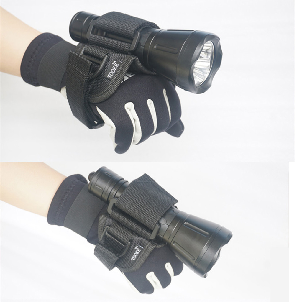 Hand Free Holder Glove for Scuba Diving Dive Underwater Torch LED Flashlight Outdoor Water Sports Accessories