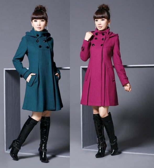 2017 Autumn Winter Long Wool Coat Women's Slim Double-Breasted Outerwear Fashion Plus Size With Hood Woolen Coats Cheap Jacket
