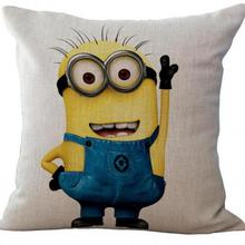 Cartoon Animation Yellow Linen Cotton Kids Throw Pillow