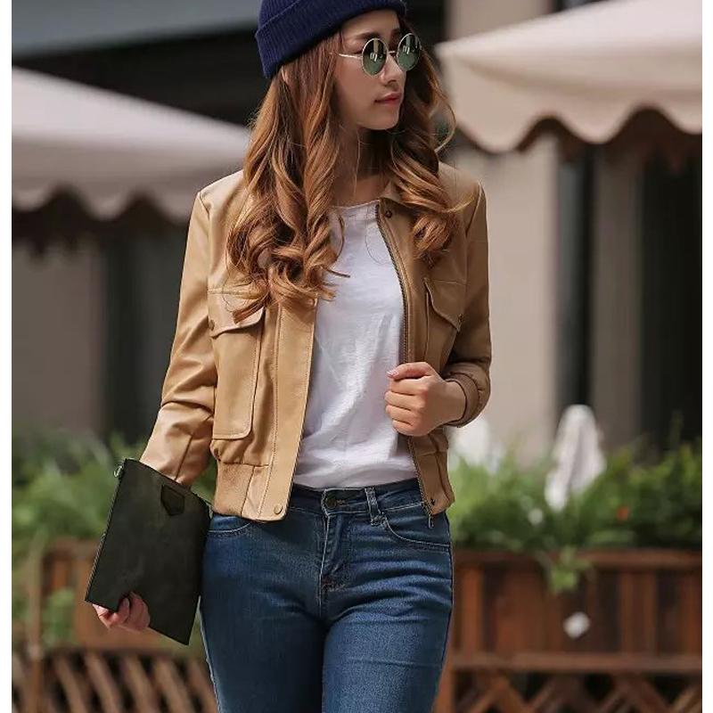 2015 New Autumn Winter Slim Faux Leather Jacket Short Coat Female Casual Leather Jacket Women Pockets European Fashion Street(China (Mainland))