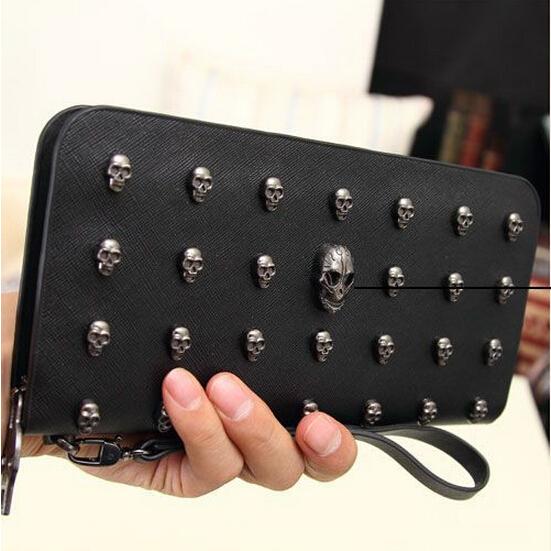 Дизайнер кошельки женщины бумажник кожа мужчины кошельки винтажный панк череп сцепление ...