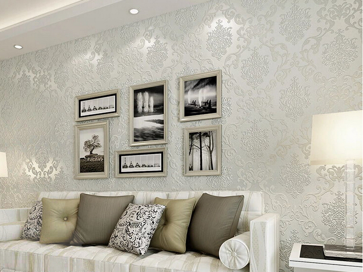 Buy italian style modern 3d embossed for Grey silver wallpaper living room