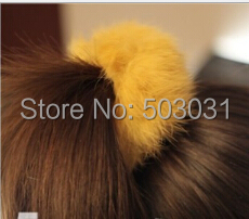 Drop shipping 1pcs 2014 Korea Fashion Women Hair band Rabbit Fur Plush hair rope Elastic Hair tie hair accessory 8colors(China (Mainland))