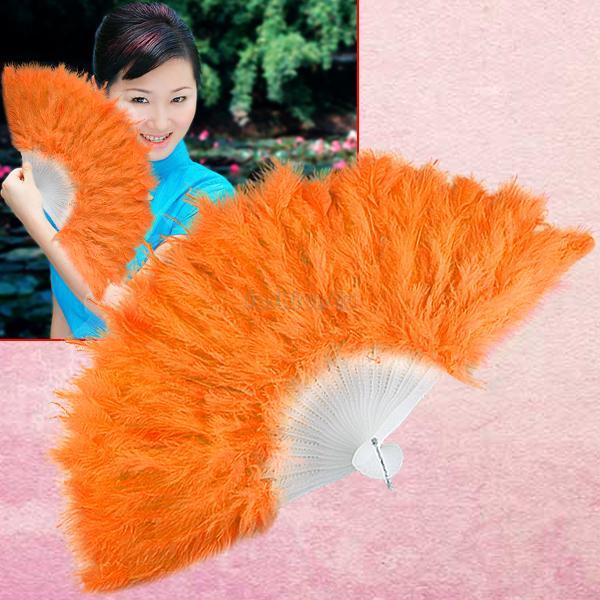 orange feather wedding party ball lady folding hand fan EN0775(China (Mainland))