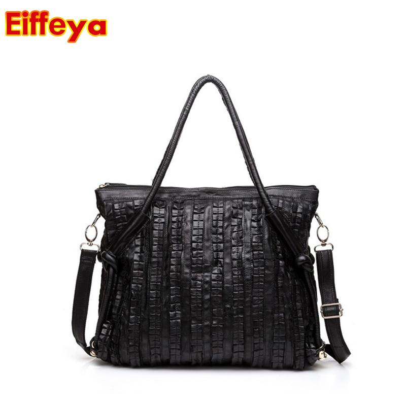 Black Patchwork Ruffles Brand Bags Large Tote Genuine Leather Designer Handbags For Women Ladies Purse(China (Mainland))