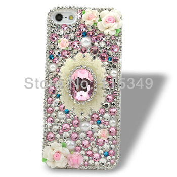 free shipping new Fashion elegant mobile phone case cover for iphone5 5G,fimo polymer clay flower,bling rhinestone crystal pearl