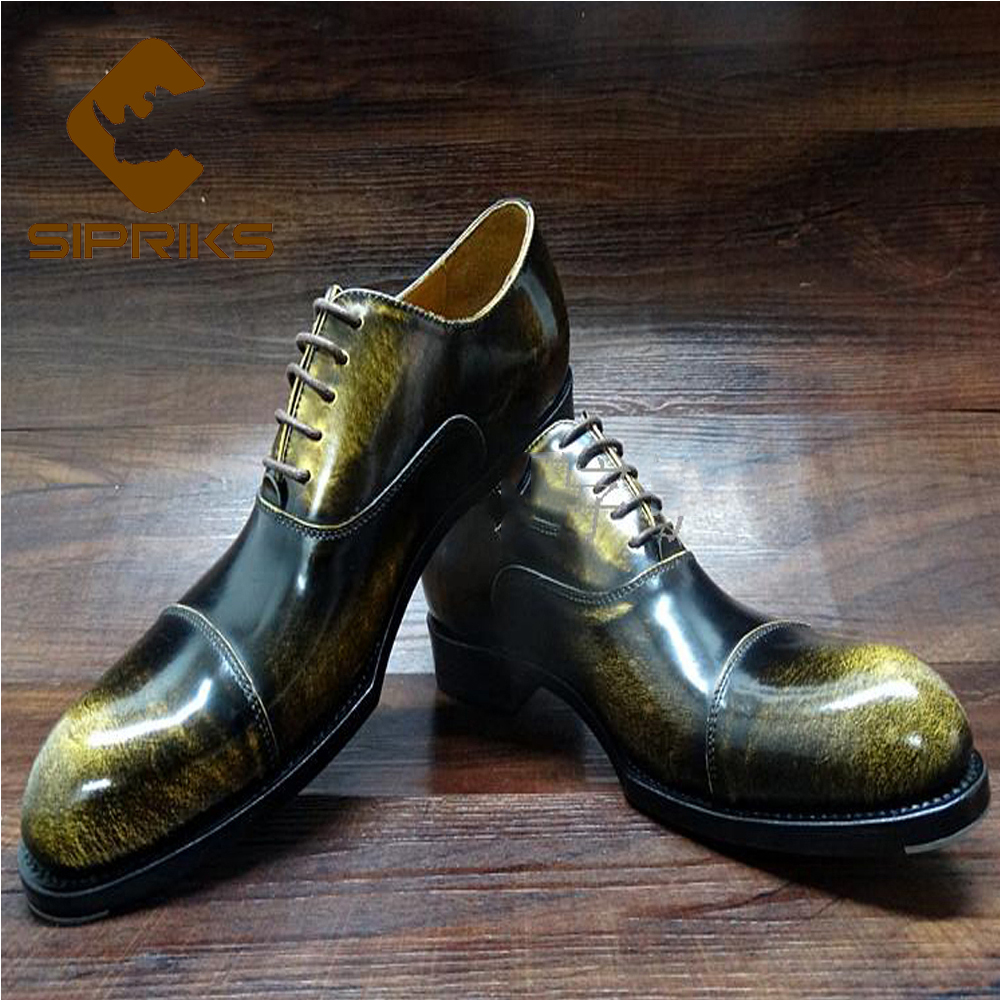 2016 Luxury brand mens goodyear welted shoes vintage cap toe mens oxfords dress shoes italian handmade unique boss leather shoes(China (Mainland))