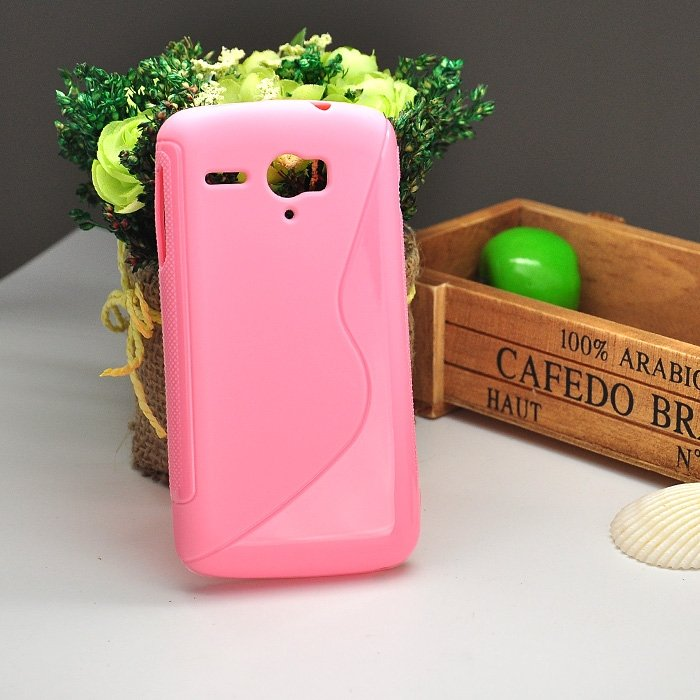 Pink Protective Soft TPU Back Case For Huawei G500 pro U8836D Anti-skid S Wave style Cell Phone Cover free shipping(China (Mainland))