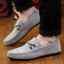 3 Color summer fashion brand suede men shoes slip on flat boat shoes men's casual shoes comfortable driving shoes male loafers (China (Mainland))