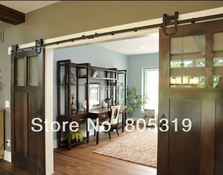 Popular double barn doors buy cheap double barn doors lots for Double sliding doors