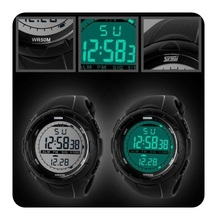 Nuevo deporte de la muñeca WatchFashion hombres LCD Digital cronómetro fecha impermeable goma del reloj del deporte