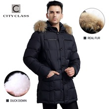 CITY CLASS Mens Winter Thick Warm Down Jacket True Raccoon Fur Fashion Long Coat Duck Down Stand Collar Removable Hood 13226(China (Mainland))