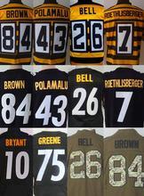 #7 Ben Roethlisber #26 LeVeon Bell #84 Antonio Brown Mens jersey bumblebee 80th anniversary jersey(China (Mainland))