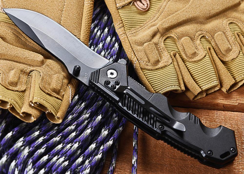 Cold Steel HY217 Folding Black Blade Knife 20 1cm Utility Camping Knife Steel Hanlde HY 217