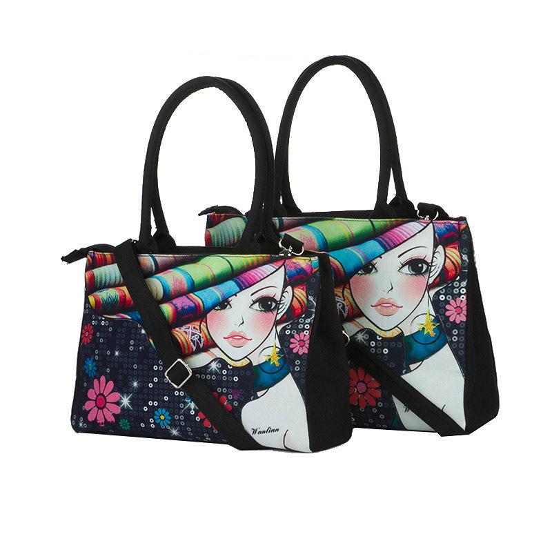15 Styles 3D Bag Women Handbag Rose Girl Digital Hand Painted Leisure Cloth Bag Canvas handbag vintage shoulder messenger bags(China (Mainland))