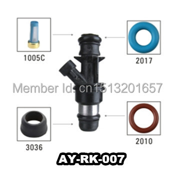 AY-RK-007 40pieces/bag auto parts Fuel injector repairing kit come with fuel injector filter ,o-ring,plastic pintle cap