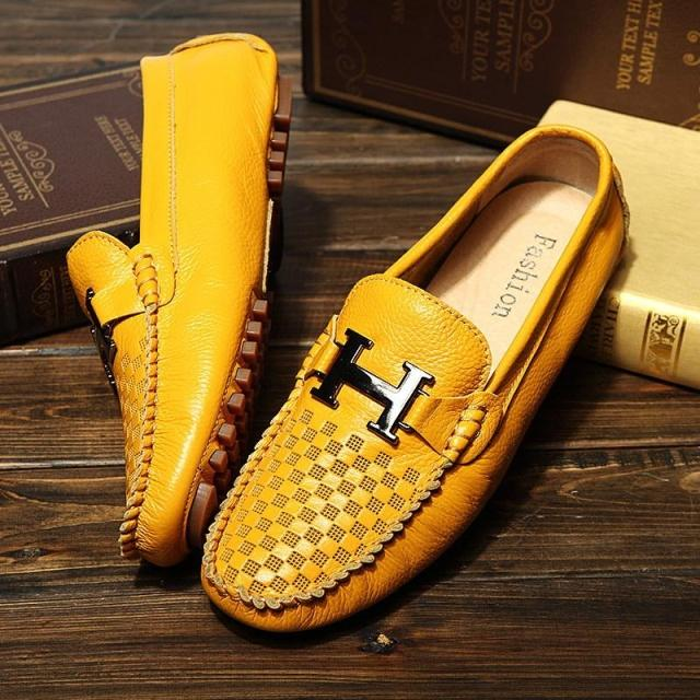 2015 New Summer Moccasins Men Shoes Genuine Leather Men's Flats Casual Loafers Cut-outs Breathable Hole Gommini Driving H Buckle(China (Mainland))