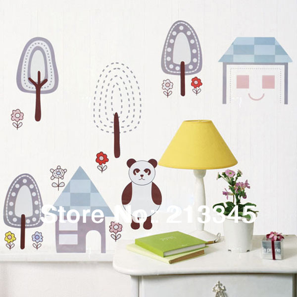 [Saturday Monopoly] beautiful jungle homes living room desk wall background decorative wall stickers 5063(China (Mainland))
