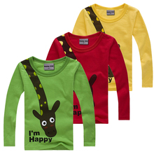 4 Color Long sleeve children cotton t shirts cute animal cartoon candy color bottoming t-shirt for Kid(China (Mainland))