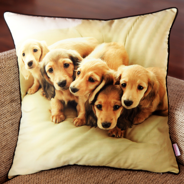 Free shipping printed 5 dogs cushion cover home/hotel/decorative/car seet cushion cover(China (Mainland))
