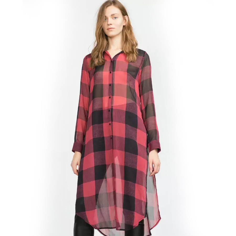 2016 summer plaid chiffon blouse women transparent long Womens red plaid shirts blouses