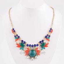 Flower Necklace 2015 New Fashion Women Jewelry Bohemia Style with Gold Chain Choker Rhinestone Necklace(China (Mainland))