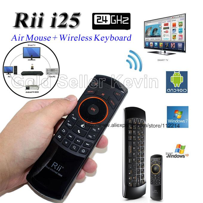 2.4G Fly Air Mouse Rii Mini i25 Wireless Qwerty Keyboard IR Remote Control for Gaming Android TV Box Mini PC Laptop HTPC IPTV(China (Mainland))