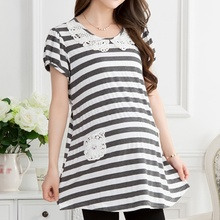 Fashion Maternity Clothing Summer One-piece T-shirt Mother Short-sleeve Maternity Top For Pregnant Women Stripe Blouse One Size