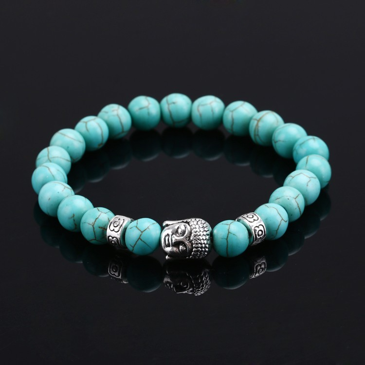 Fashion jewelry Pulseras mujer natural stones Buddha Bracelet women Lava Turquoise Onyx beads Men Bracelets&Charm bracelet - NO1 Jewelry mall store