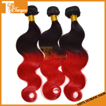 Ombre Hair Weave Weft Body Wave 3pcs/4pcs Lot Cheap Ombre Brazilian Virgin Human Hair Extensions Dip Dye Two Tone Color #1B Red(China (Mainland))