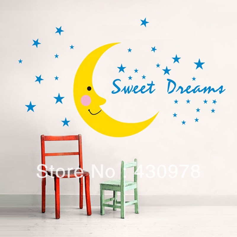 QZ514 Free Shipping 1 Pcs Moon Stars Night Sweet Dream Baby Care Early Eduction Removable Wall Stickers Home Decoration(China (Mainland))