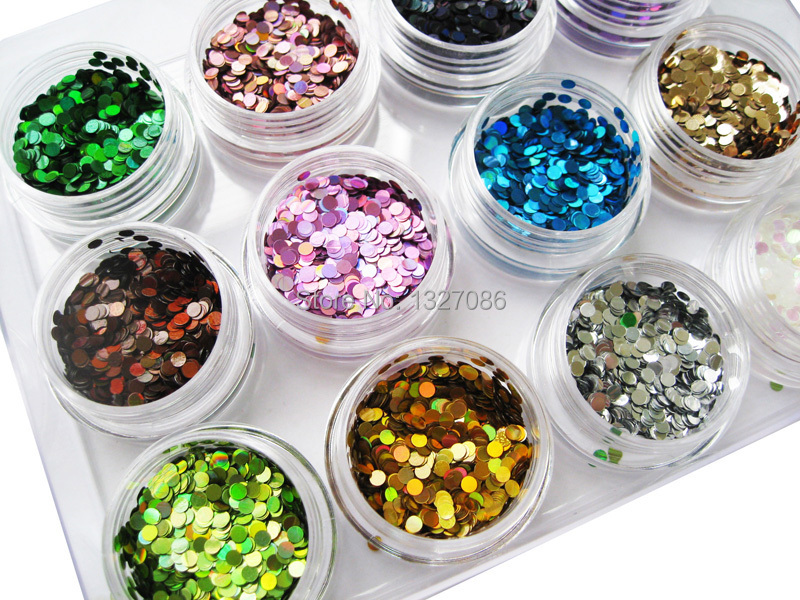 12 Nail Art Glitter ROUND Shapes Confetti Sequins Acrylic Tips UV Gel - timtimng store