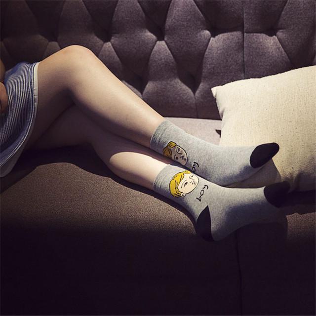2015 новых корея милого молодых девушек и мальчики с носки Kawaii женщины мультфильм носок новый головы рисунком хлопок искусство носки