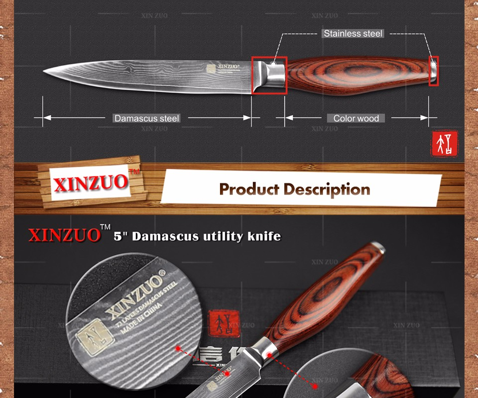 Buy XINZUO 5 inches utility knife Japanese Damascus steel kitchen knives paring Universal knife with color wood handle FREE SHIPPING cheap