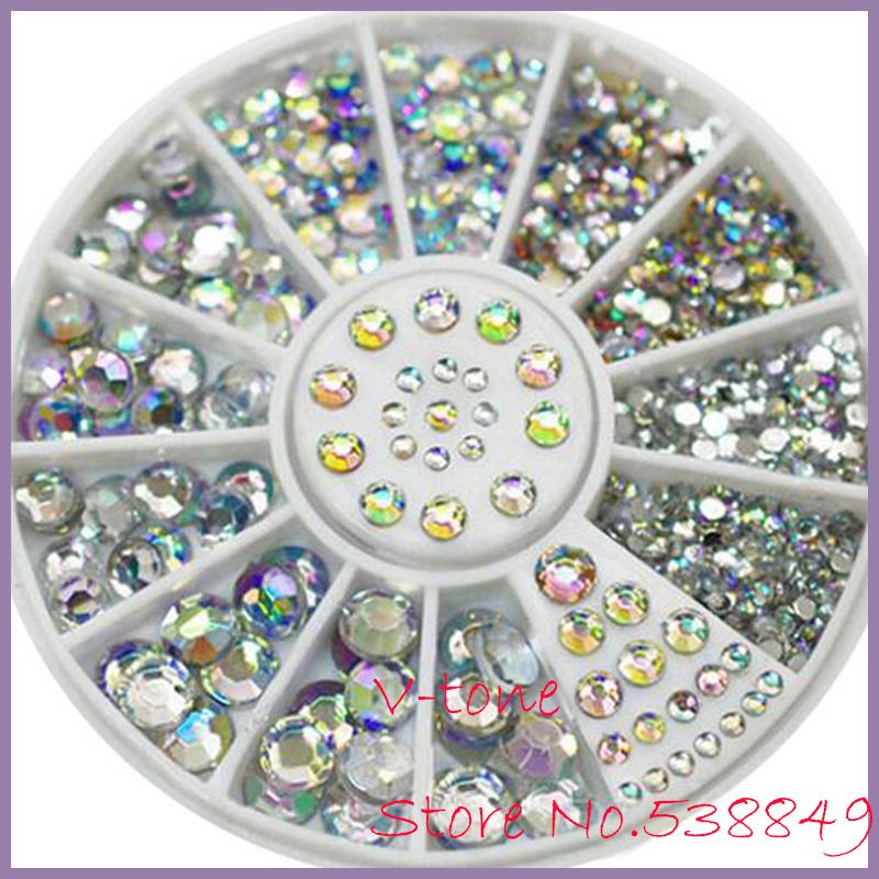 New Hot 5 Sizes White round Acrylic 3D Nail Art Decoration Crystal Glitter Rhinestones 1NGM(China (Mainland))